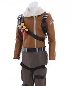 Fortnite Raptor Gaming Brown Leather Jacket