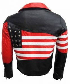 Mens American Flag Leather Jacket