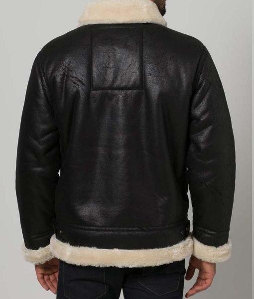 Mens Aviator Shearling Black Jacket