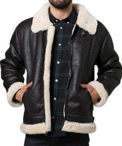 Mens Aviator Shearling Black Leather Jacket