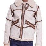 Mens Aviator Waxed White Leather Jacket