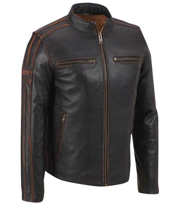 Mens Brown Stripe Cafe Racer Jacket