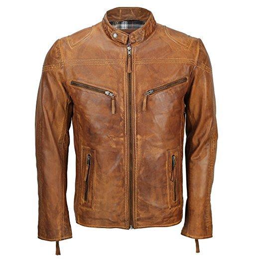 Mens Cafe Racer Biker Brown Leather Jacket
