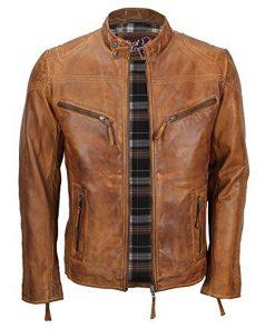 Mens Cafe Racer Biker Leather Jacket