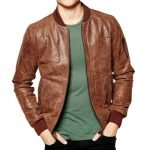 Mens Dark Brown Bomber Leather Jacket