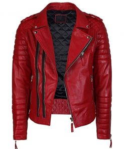 Mens Lambskin Motorcycle Red Leather Jacket