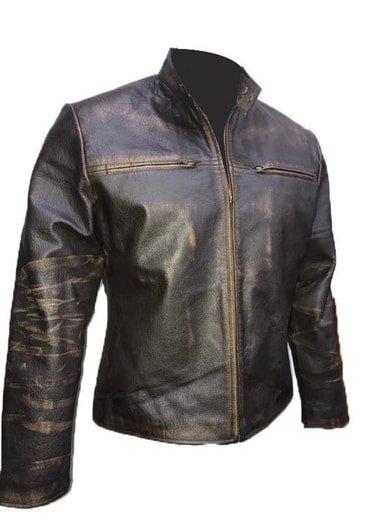 Mens Cafe Racer Retro Black Leather Jacket