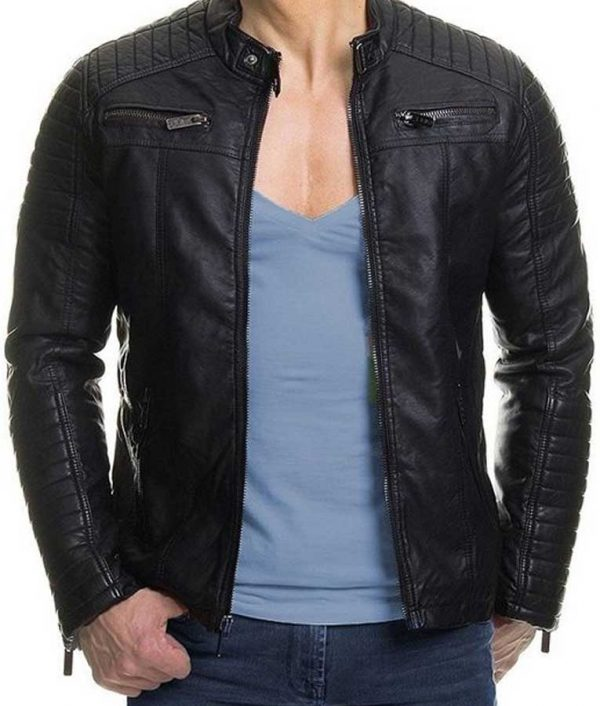 Mens Slim Fit Black Padded Leather Jacket