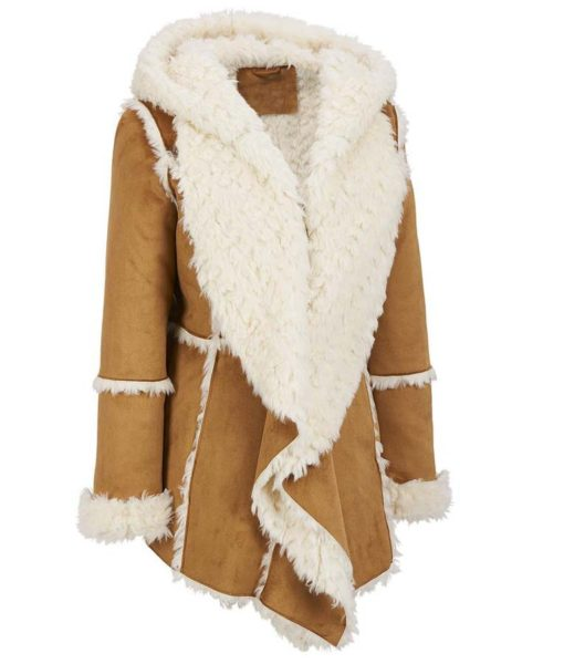 Womens Brown Fur Overcoat With Hood