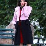Katy Keene Lucy Hale Pink and Black Coat