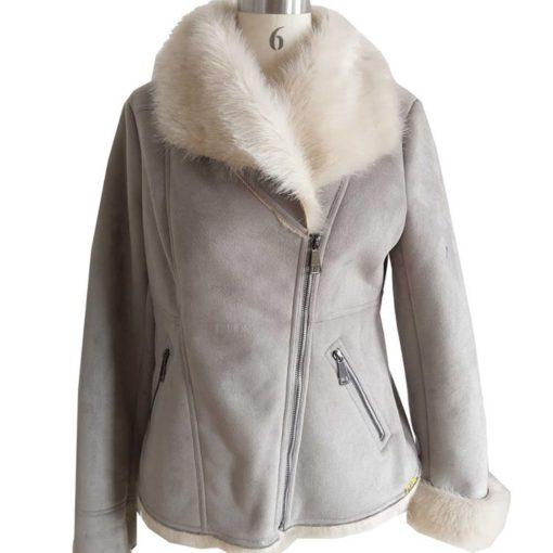 Ladies Bomber Fancy Fur Jacket