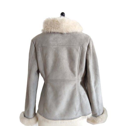 Ladies Bomber Fancy Stylish Fur Gray Jacket