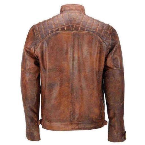 Men Brown Cafe Racer Distressed Motorcycle Jacket