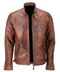 Men Brown Cafe Racer Distressed Motorcycle Leather Jacket