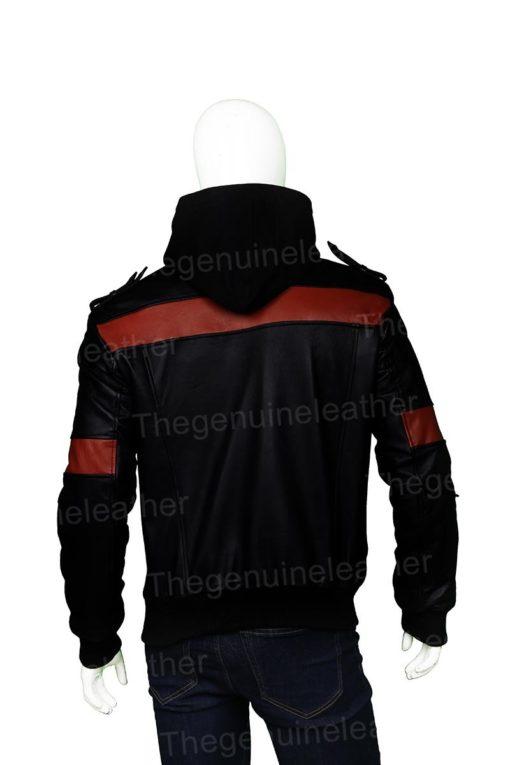 Mens Black Hooded Bomber Jacket