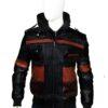 Mens Black Leather Hooded Bomber Jacket