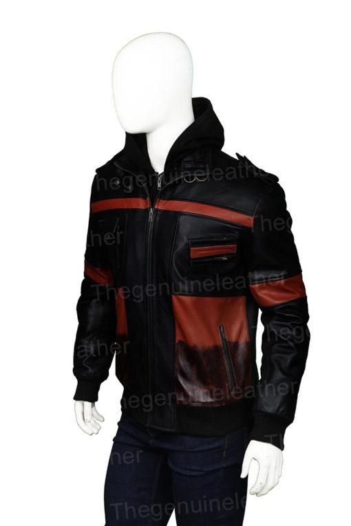 Mens Black Leather Hooded Jacket