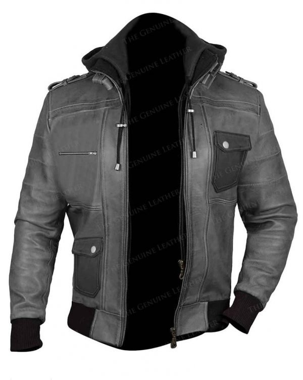 Mens Gray Hoodie Bomber Leather Jacket