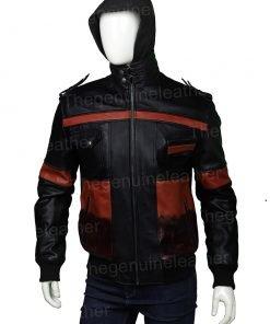 Mens Leather Hooded Bomber Jacket