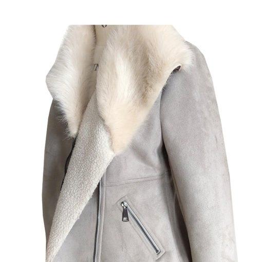 Womens Bomber Fancy Fur Gray Jacket