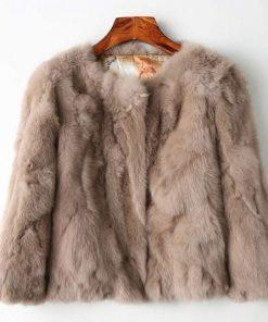 Womens Fashionable Brown Fur Jacket
