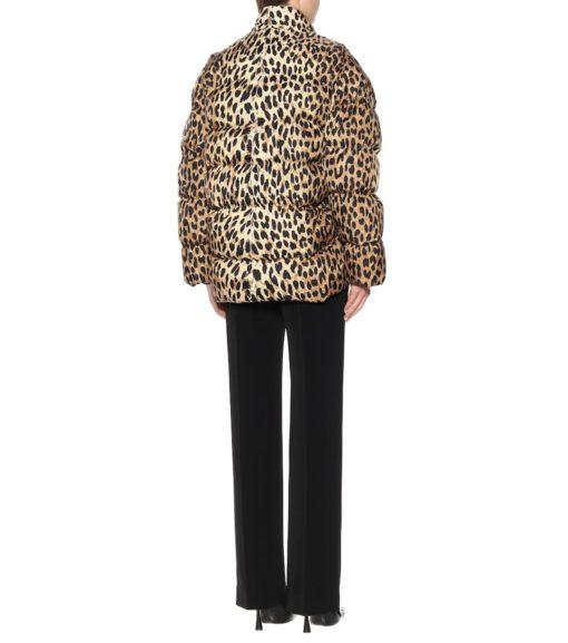 Womens Faux Fur Leopard Leather Jacket