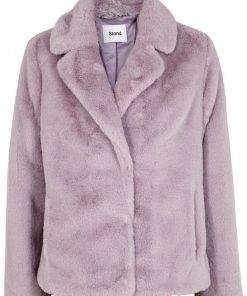 Womens Stand Lavender Purple Fur Jacket