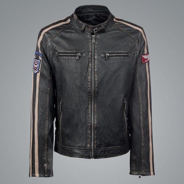 Bike Racer Distressed Black Leather Jacket