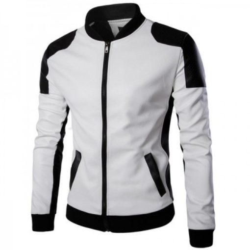 Joliet Perforated White Leather Jacket