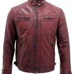 Men's Retro Burgundy Leather Racing Biker Jacket