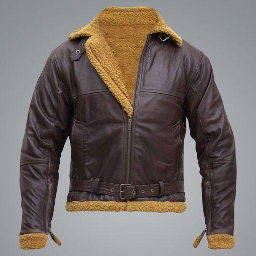 Men B3 Flying Aviator Pilot Shearling Leather Jacket