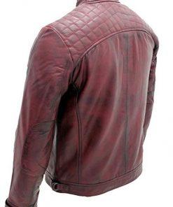 Men Burgundy Retro Racing Leather Jacket