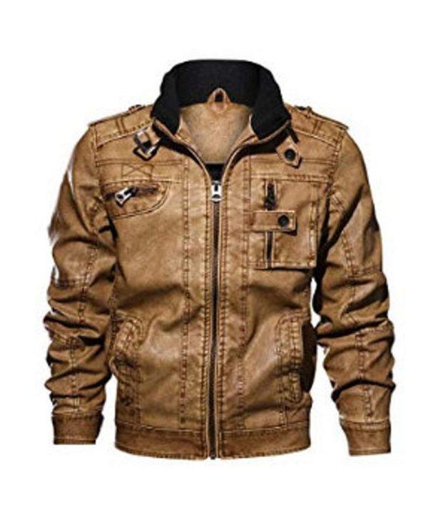 Men Cafe Racer Motorcycle Brown Leather Jacket