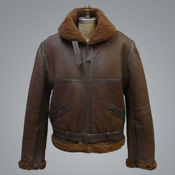 Mens B3 Aviator RAF Shearling Flight Bomber Leather Jacket