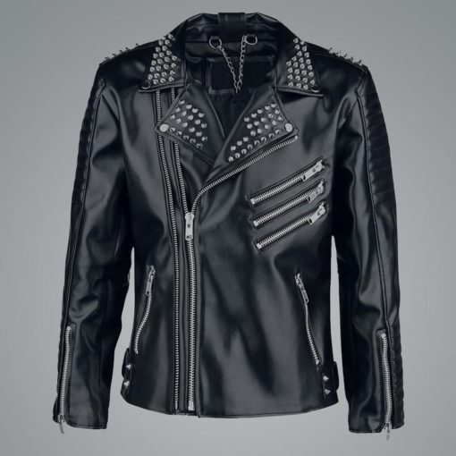 Mens Black Studded Leather Jacket
