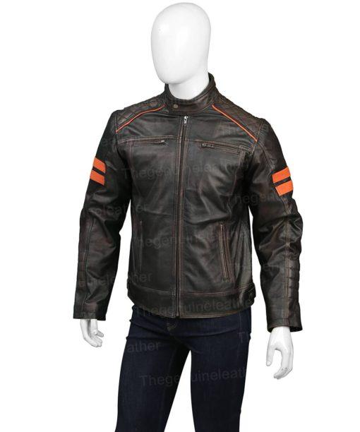Mens Jux Brown Leather Jacket