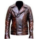 Mens Motorcycle Distressed Brown Leather Jacket