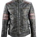 Mens Motorcycle Retro Biker Leather Jacket
