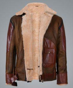 Mens RAF B3 Aviator Flying Brown Bomber Leather Jacket