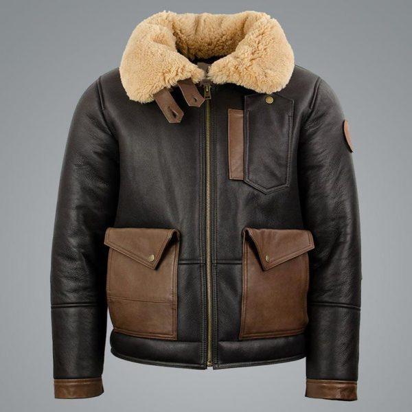 Mens Sheepskin Chocolate Black Bomber Jacket