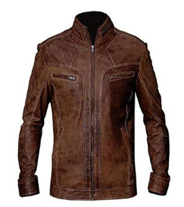 Mens Vintage Distressed Biker Leather Jacket