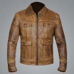 Vintage Cognac Brown Leather Jacket