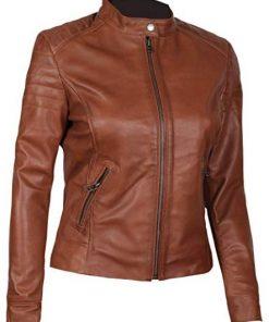 Women Biker Brown Leather Jacket