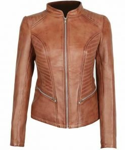 Womens Rachel Cognac Brown Leather Jacket