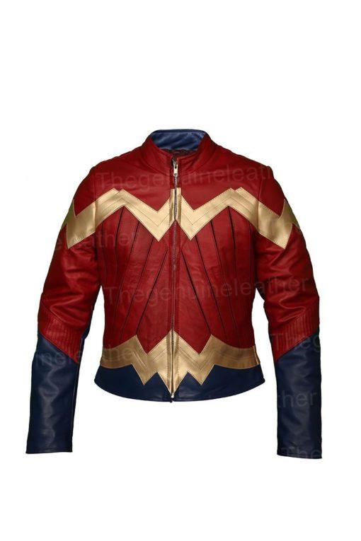Wonder Woman Maroon Leather Jacket