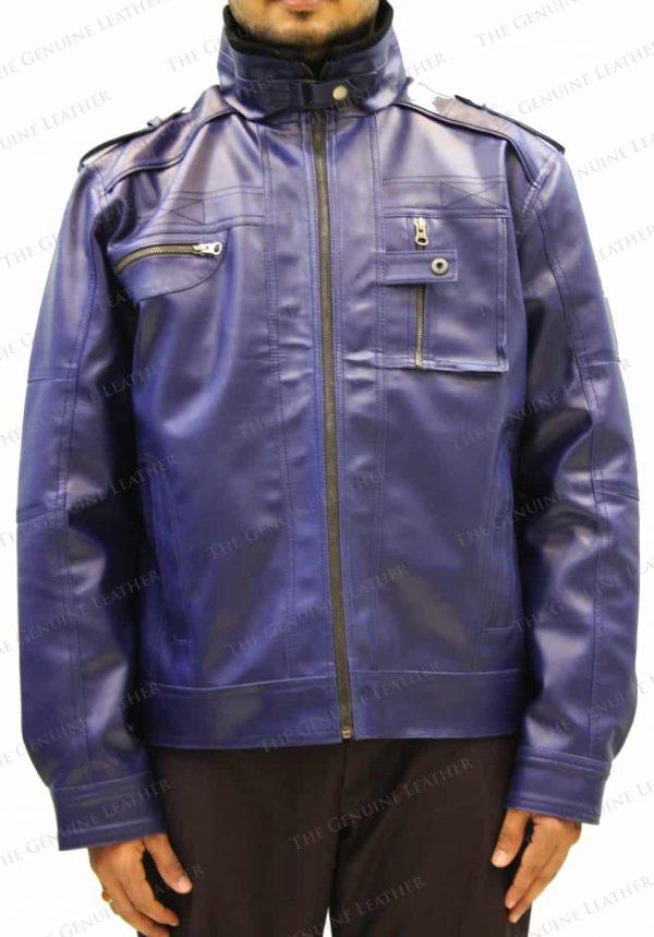 Men Blue Retro Leather Jacket