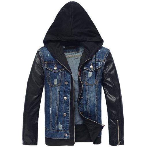 Men Fashion Leather Hoodie Denim Jacket