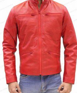 Men Red Retro Leather Jacket