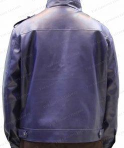 Mens Blue Retro Leather Jacket
