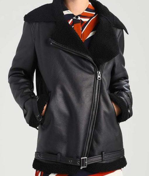 Womens Aviator Black Shearling Jacket